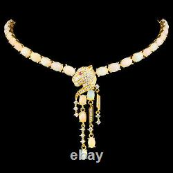 100% Natural 7x5mm Precious Opal Leopard Design Yellow Gold Silver 925 Necklace