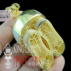 10K Yellow Gold Silver Baseball Cap Hat Pendant Simu Diamond Sports Shoes Charm