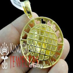 10K Yellow Gold Silver Egyptian Queen Nefertiti Medallion Simu Diamond Pendant