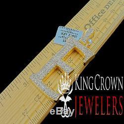 10K Yellow Gold Silver Initial Letter Alphabet E Pendant Diamonds Charm + Chain