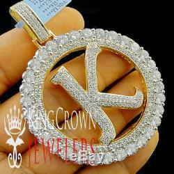 10K Yellow Gold Silver Initial Letter Alphabet K Pendant Big XL Diamonds Charm