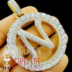 10K Yellow Gold Silver Initial Letter Alphabet N Pendant Big XL Diamonds Charm