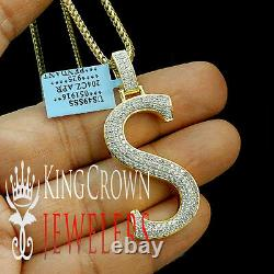 10K Yellow Gold Silver Initial Letter Alphabet S Pendant Diamonds Charm + Chain