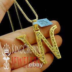 10K Yellow Gold Silver Initial Letter Alphabet W Pendant Diamonds Charm + Chain