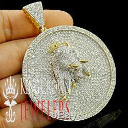 10K Yellow Gold Silver Round Medallion Bull head Pendant Custom A++ Cz Charm New
