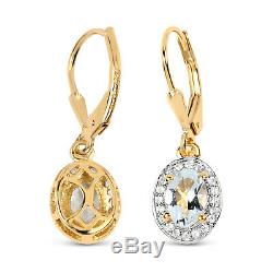 14K Yellow Gold 1.70ct Aquamarine &White Topaz 925 Sterling Silver Drop Earrings