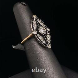 14K Yellow Gold Silver Antique Old European Diamond Ring