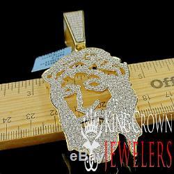 14K Yellow Gold Silver Lab Diamond Jesus Face Custom Piece Pendant Charm 2.85'
