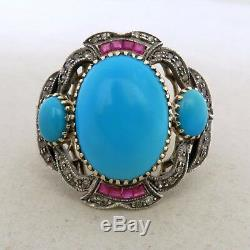 14K Yellow Gold & Silver Ring with Blue Turquoise, Ruby & Diamonds (9.3g, size 8)