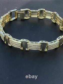 14k Gold Over Solid 925 Silver W. 8ct Diamonds Icy Hip Hop Mens Bracelet Custom