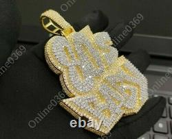 14k Yellow Gold Finish Mens 80's Baby Customized Name Pendant Free Stud Silver