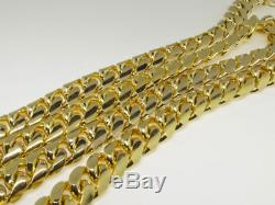 14k Yellow Gold Finish Solid Franco Miami Cuban Necklace Sterling Silver 14 mm