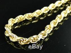 14k Yellow Gold Finish Solid Rope Chain Necklace Real Sterling Silver 4.5mm 30in