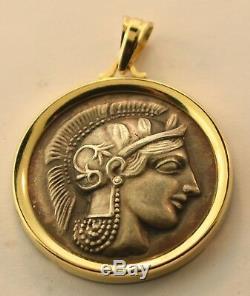 14k Yellow Gold Silver Athena Coin Pendant Charm