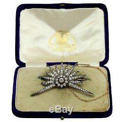 14k Yellow Gold, Silver and Diamond Star Burst Brooch Circa 1900