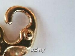 14kt Yellow Gold & Silver Diamond Collar Large Panther or Leopard Pendant slide