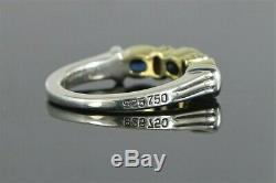 $1650 Lagos Caviar 18K Yellow Gold Silver Oval Blue Sapphire Diamond Ring Band 7