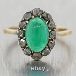 1860 Antique Victorian 14k Yellow Gold Silver 2.5ctw Rose Diamond & Emerald Ring