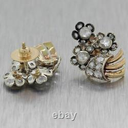 1880 Antique Victorian 14k Yellow Gold & Silver 2.20ct Rose Cut Diamond Earrings