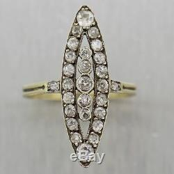 1880's Antique Victorian 14k Yellow Gold & Silver 1.50ctw Diamond Navette Ring