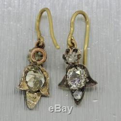 1880's Antique Victorian 18k Yellow Gold & Silver 0.70ctw Diamond Dangle Earring