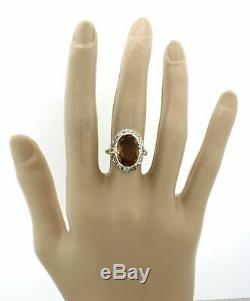 1880s Antique Victorian Silver 18k Yellow Gold Chunky Oval Citrine Diamond Ring