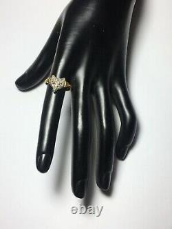 18ct. 750. Yellow Gold & Silver Diamond Fox Head Ring. Size Q1/2. U. S. Size 8.75