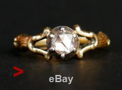 1947 Ring solid 18K Yellow Gold Silver 0.6ct. Diamond Ø US7.75/ 3.7 gr