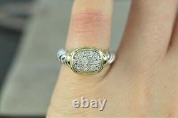 $1,450 David Yurman 18K Yellow Gold Silver Noblesse Pave Round Diamond Ring 5.5
