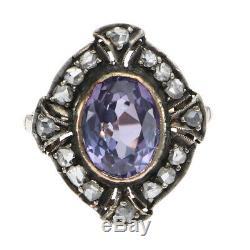 1.4ctw Amethyst Rose Diamond 1880s Antique Victorian Ring 14k Yellow Gold Silver