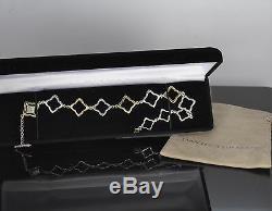 $1,725 David Yurman 18K Yellow Gold Silver Quatrefoil Toggle Anklet Bracelet