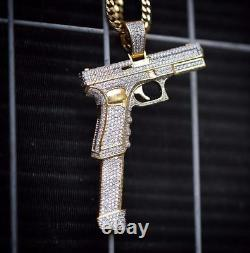 1ct Sim Diamond Mens Pistol Hand Gun Pendant Silver Free Stud 14k Yellow Gold FN
