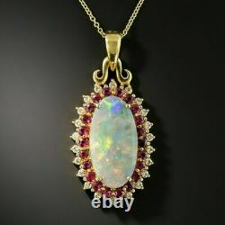 2.00CT Opal Ruby Diamond Pendant with 18 Chain Necklace in 14k Yellow Gold Over
