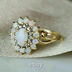 3CT Oval & Round Cut Opal 14k Yellow Gold Over Diamond Halo Cluster Wedding Ring