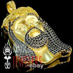 3 Tone Mens 10K Yellow Gold Silver Canary Jesus Face Charm Diamond Pendant 2.25