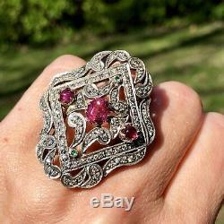 $4500 Rose-Cut Diamond Pink Tourmaline 14K Yellow Gold Silver HUGE Armor Ring