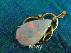 5CT Fire Opal Teardrop & Diamond 14K Yellow Gold Over Without Chain Pendant
