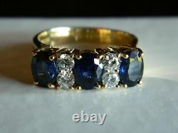 5.26CT Oval Cut Blue Sapphire & Diamond 3 Stone Band Ring 14k Yellow Gold Over