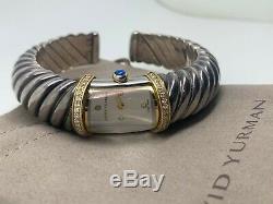 $5,500 David Yurman 18K Yellow Gold Silver Diamond Sapphire Waverly Cuff Watch