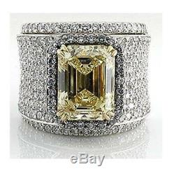 6Ct Emerald Canary Yellow Simulnt Diamond Pave Engagement Ring White Gold Silver