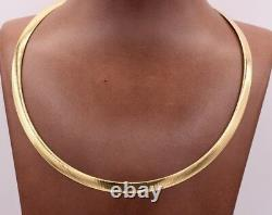 6mm Italian Reversible Omega Chain Necklace 14K Yellow Gold Clad Silver 925