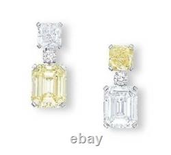 8Ct Cushion Canary Yellow Simulnt Diamond Dangle Drop Earrings White Gold Silver