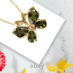 925 Sterling Silver Yellow Gold Over Moldavite Necklace Pendant Size 20 Ct 1.7