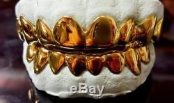 925 Sterling Silver over 18K Yellow Gold Plated Custom Real Handmade Grillz