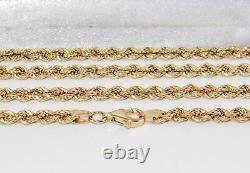 9CT GOLD & SILVER 4mm SOLID ROPE CHAIN 30 inch Men's or Ladies 16.7 grams