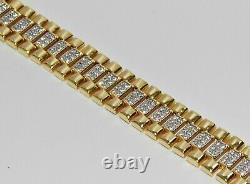9ct Yellow Gold on Silver Children's / Baby Diamond Rolex Watch Strap Bracelet