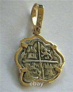 ATOCHA Coin Pendant 14k Gold Freeform Silver Coin Treasure Shipwreck Jewelry