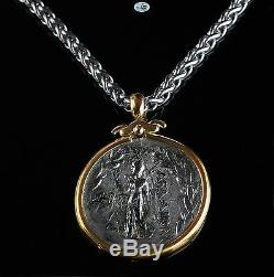 Antique 18K Yellow Gold Silver Roman Tetradrachm Phoenicia Coin Chain Necklace