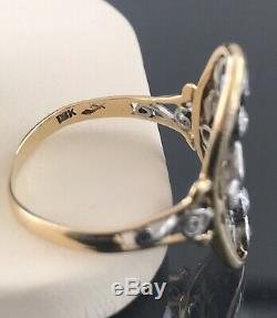 Antique 18k Yellow Gold & Silver Ceylon Sapphires & Diamond Ring