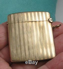 Antique 9K Yellow Gold HARDY BAB ENGLAND Elegant Match Safe Striker Case Box